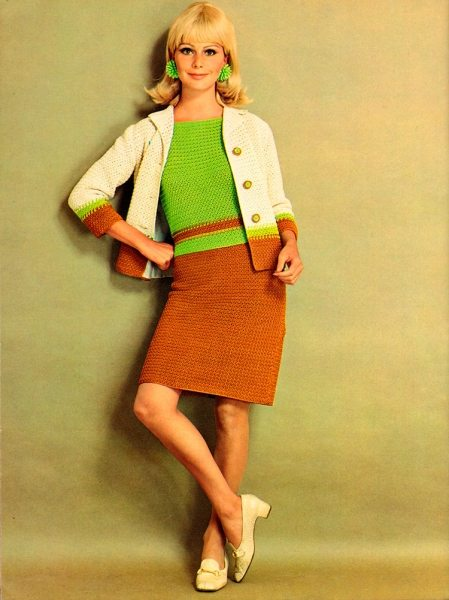 Красивые вязаные платья – мода 1960 годов