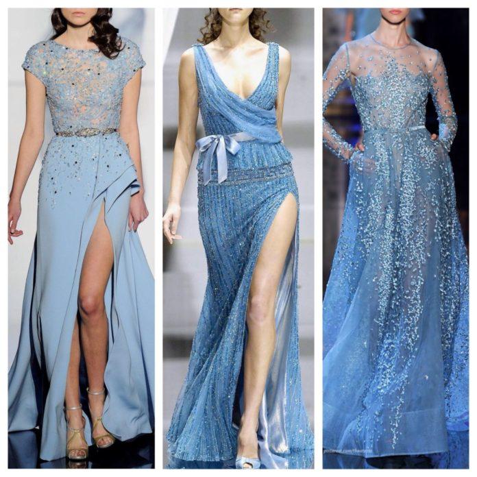 Голубые платья