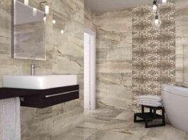 Мраморная плитка придает ванной роскошный вид